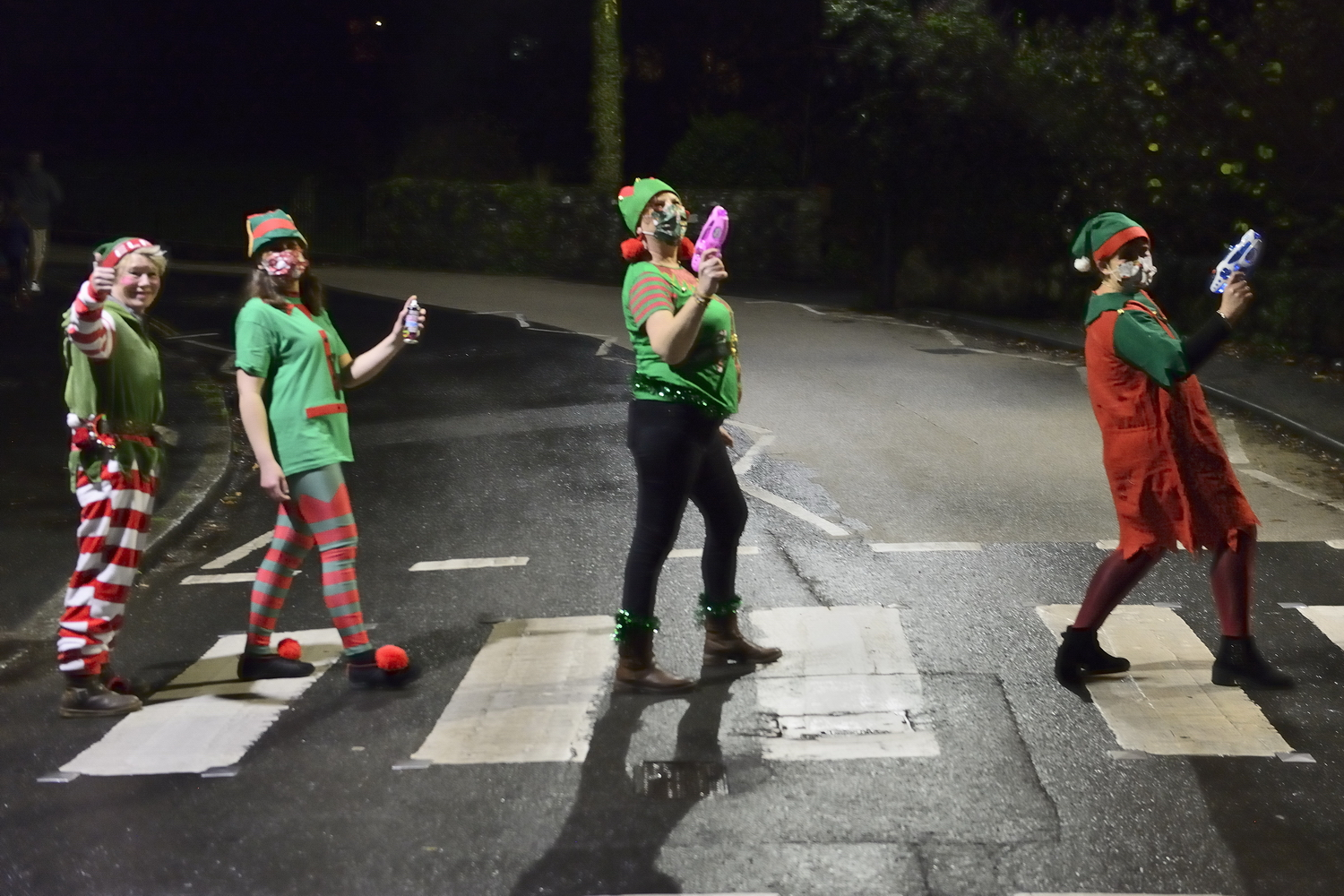 Elves crossing the road